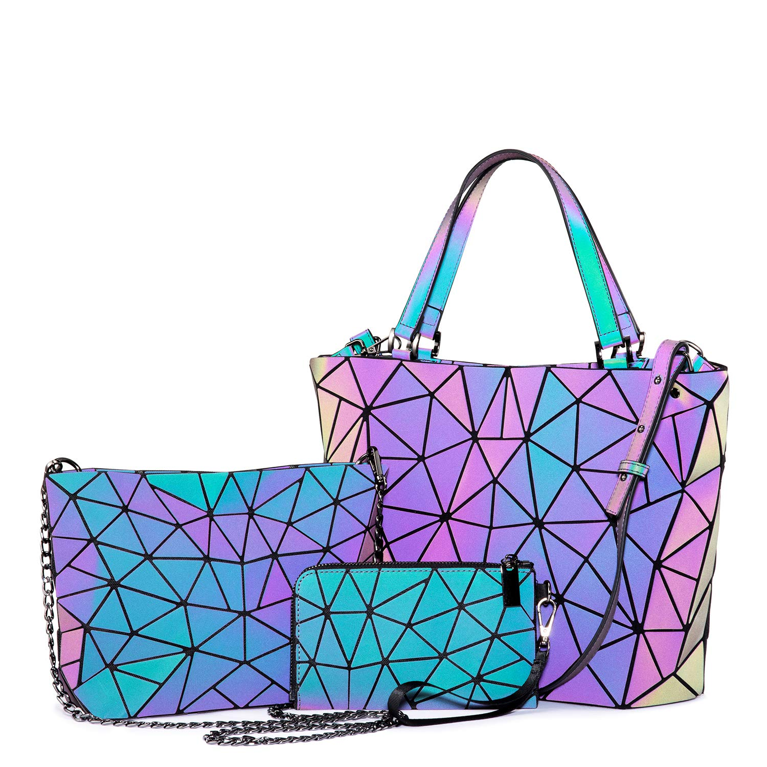 Geometric Luminous Purses and Handbags for Women Holographic Reflective Crossbody Bag Wallet 3PCS by LOVEVOOK