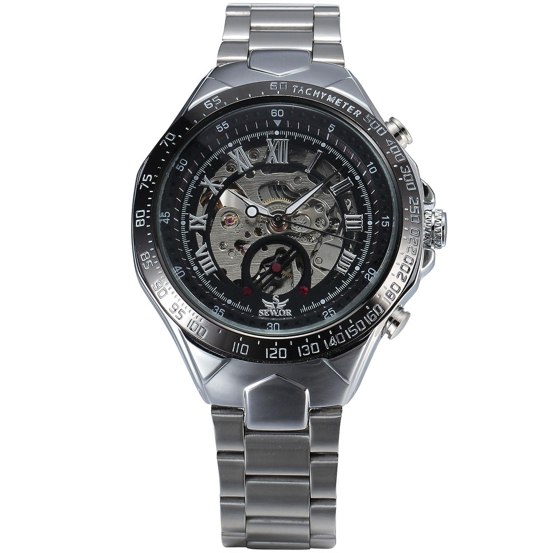 Wops Men 's Mechanical Dialステンレススチールストラップhand-wind手首腕時計 B01D6DJF4Y