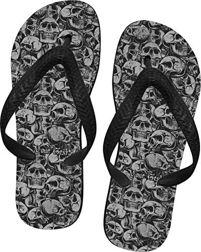 751adf424cff YouCustomizeIt Skulls Flip Flops - XSmall (Personalized)
