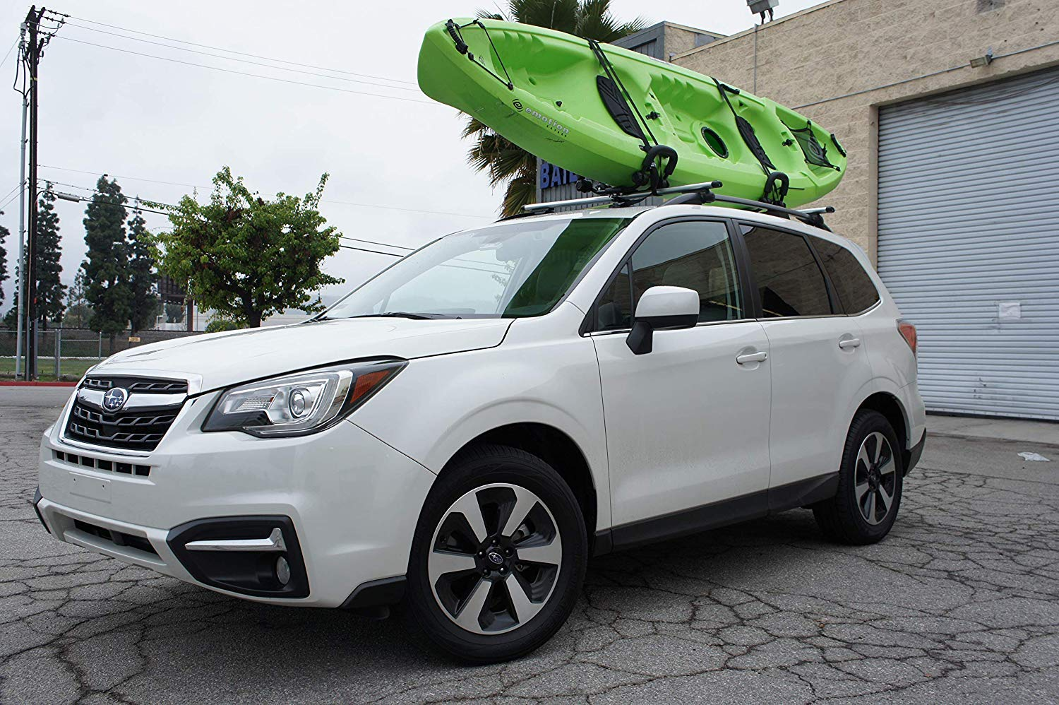 Car Rack & Carrier Universal Kayak Carrier Car Roof Rack Set of Two J-Shape Foldable Carrier for Canoe, SUP and Kayaks Mounted on Your SUV, Fits Most Size Crossbar (1 Pair)