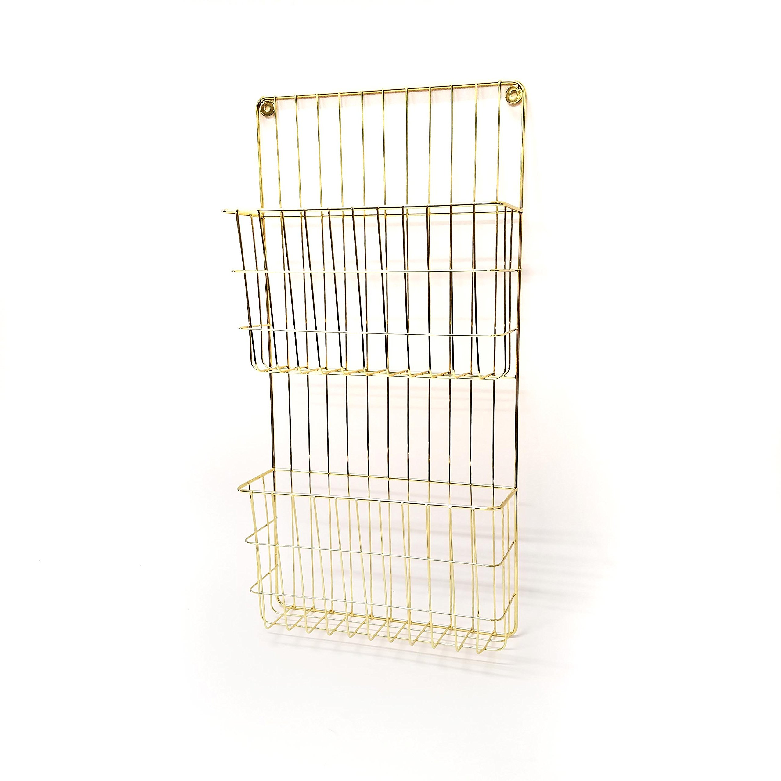 Gold Finish 2 Tier Metal Wall File Holder