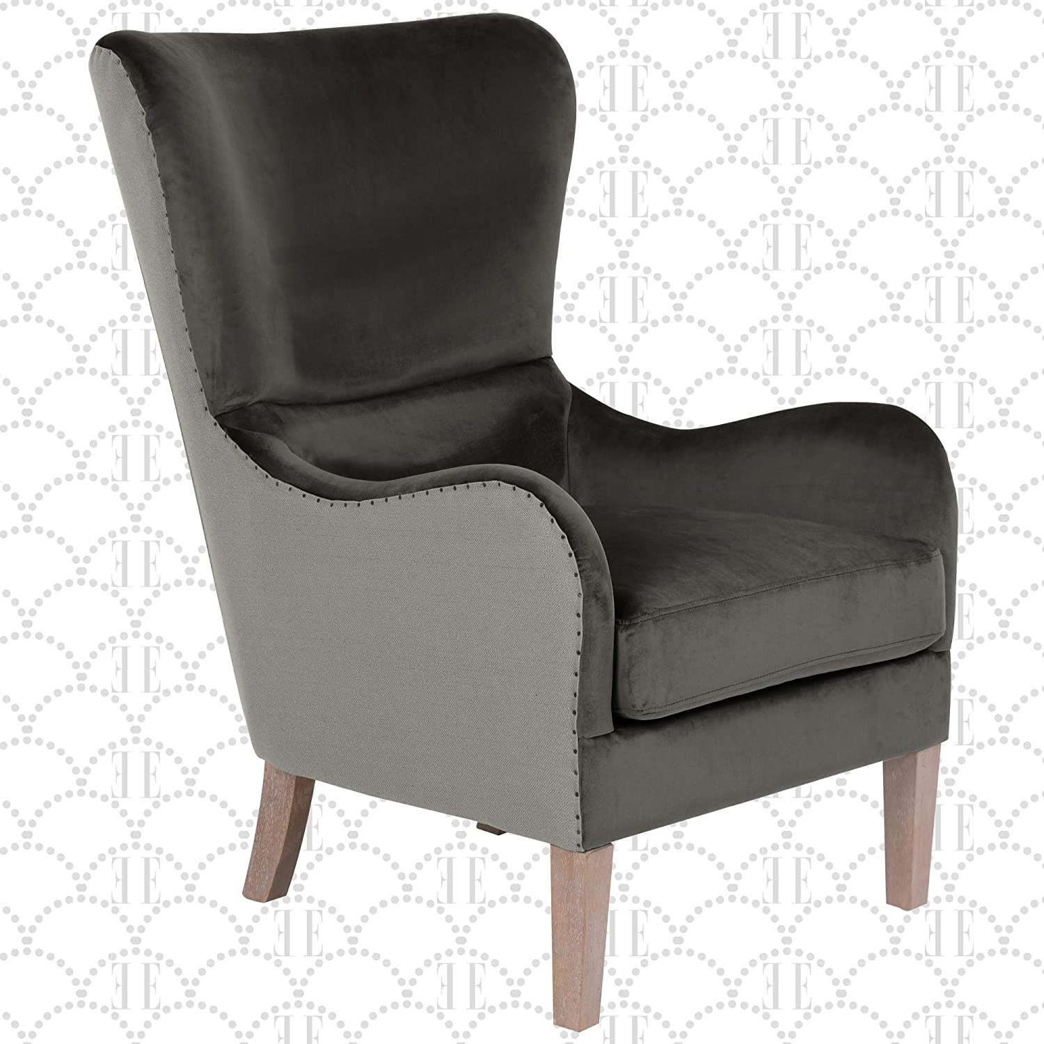 Elle Decor Wingback Upholstered Accent Chair Farmhouse Armchair For Living Room Two Toned Dark Gray Furniture Decor