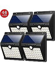 Yacikos Luce Solare Esterno, 46 LED 1800 mAh Lampada Solare con Sensore di Movimento Luci Solari Impermeabile 3 Modalità Luci Solari Wireless di Sicurezza Illuminazione Esterno per Giardino [4 Pezzi]