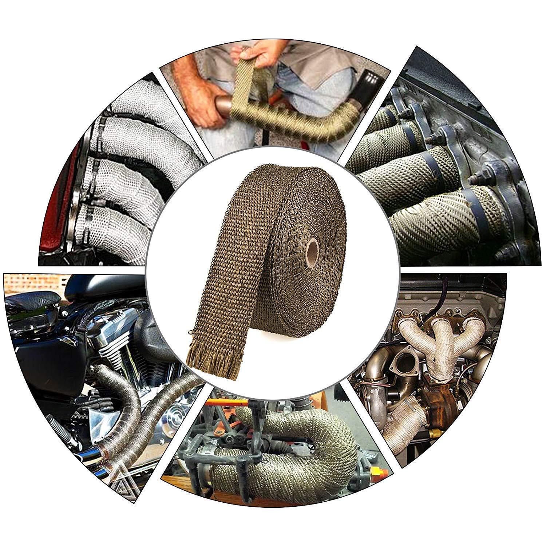 Colore Nero Smarcy Nastro Termico Isolante in fibra di vetro per tubi di scarico per motocicli 15M x 5CM 15 pezzi Flange isolamento per avvolgimento Collettore di scarico moto