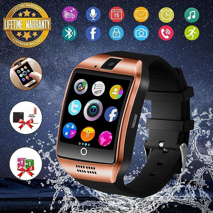Reloj Inteligente Hombre, Smartwatch Hombre con Cámara Pantalla Táctil Ranura para Tarjeta SIM Teléfonos Inteligentes