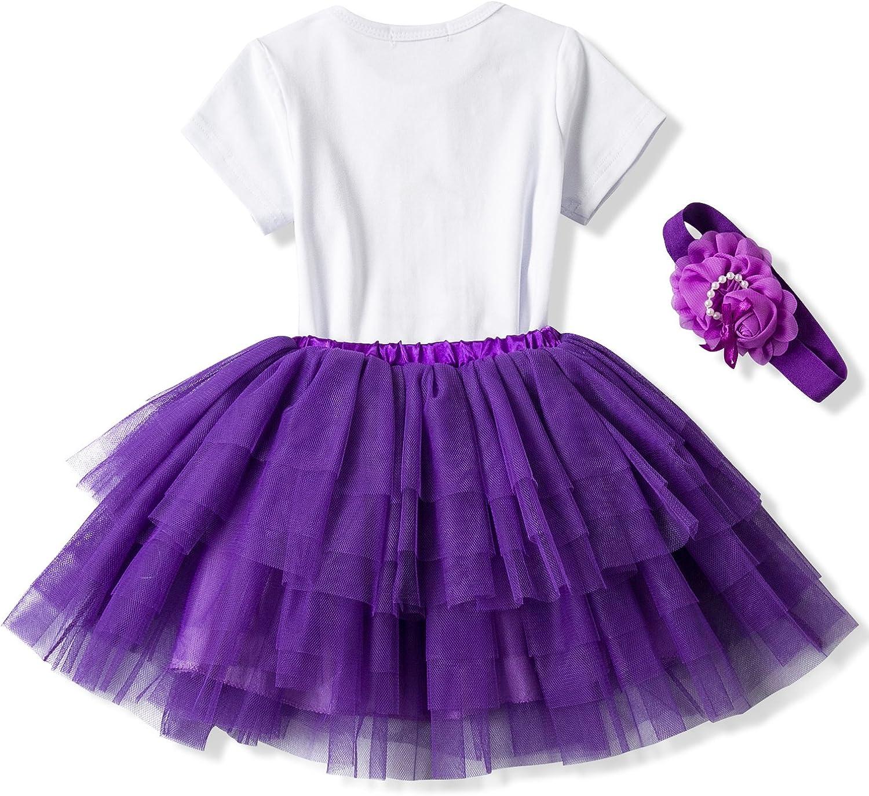 Baby Girl Dress 1st Birthday Outfit Romper Bodysuit Tutu Tulle Skirt+Headwear