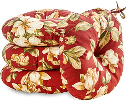 Greendale Home Fashions AZ6817S4-ROMAFLORAL Tuscan Floral Outdoor 18-inch Bistro Seat Cushion Set of 4