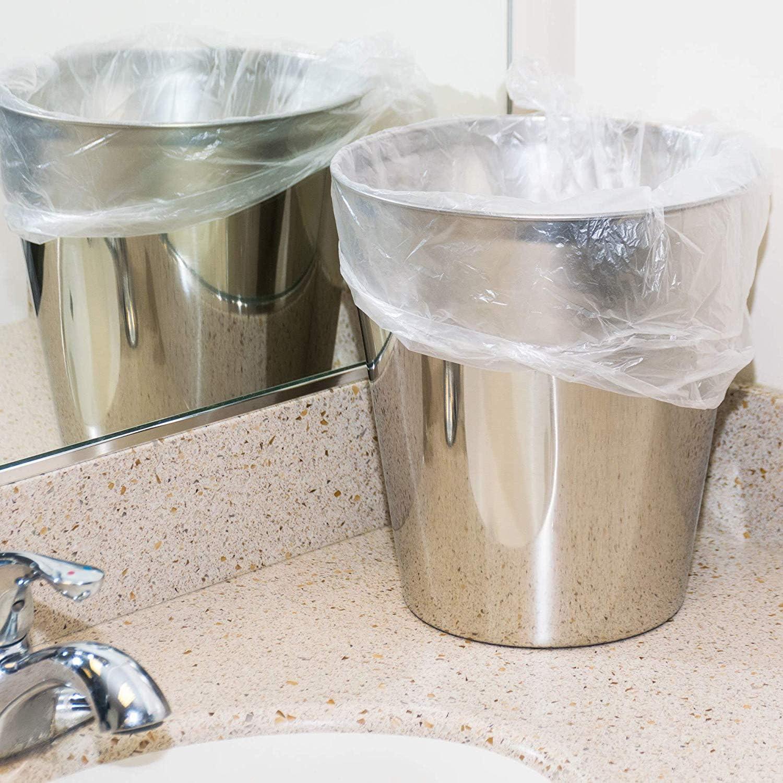 "4 Gallon Trash Bags - 100 Small Mini Garbage Bags   17"" x 18"" Clear Waste Basket Trash Bags   Bulk Plastic Bathroom Trash Can Liners"