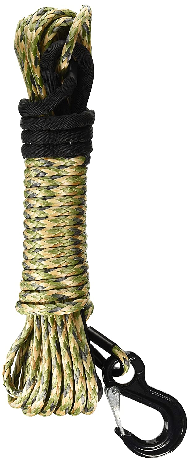 California Cordage 3//16 x 50 Camo DynaTech UHMWPE Winch Rope with G80 Forged Hook
