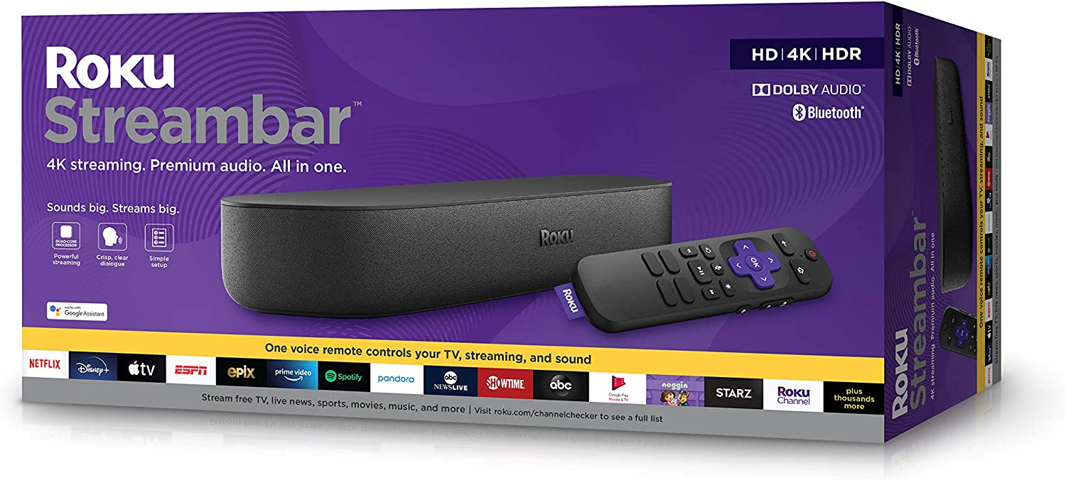 Roku Streambar | 4K/HD/HDR Streaming Media Player & Premium Audio, All In One, Includes Roku Voice Remote, Released 2020