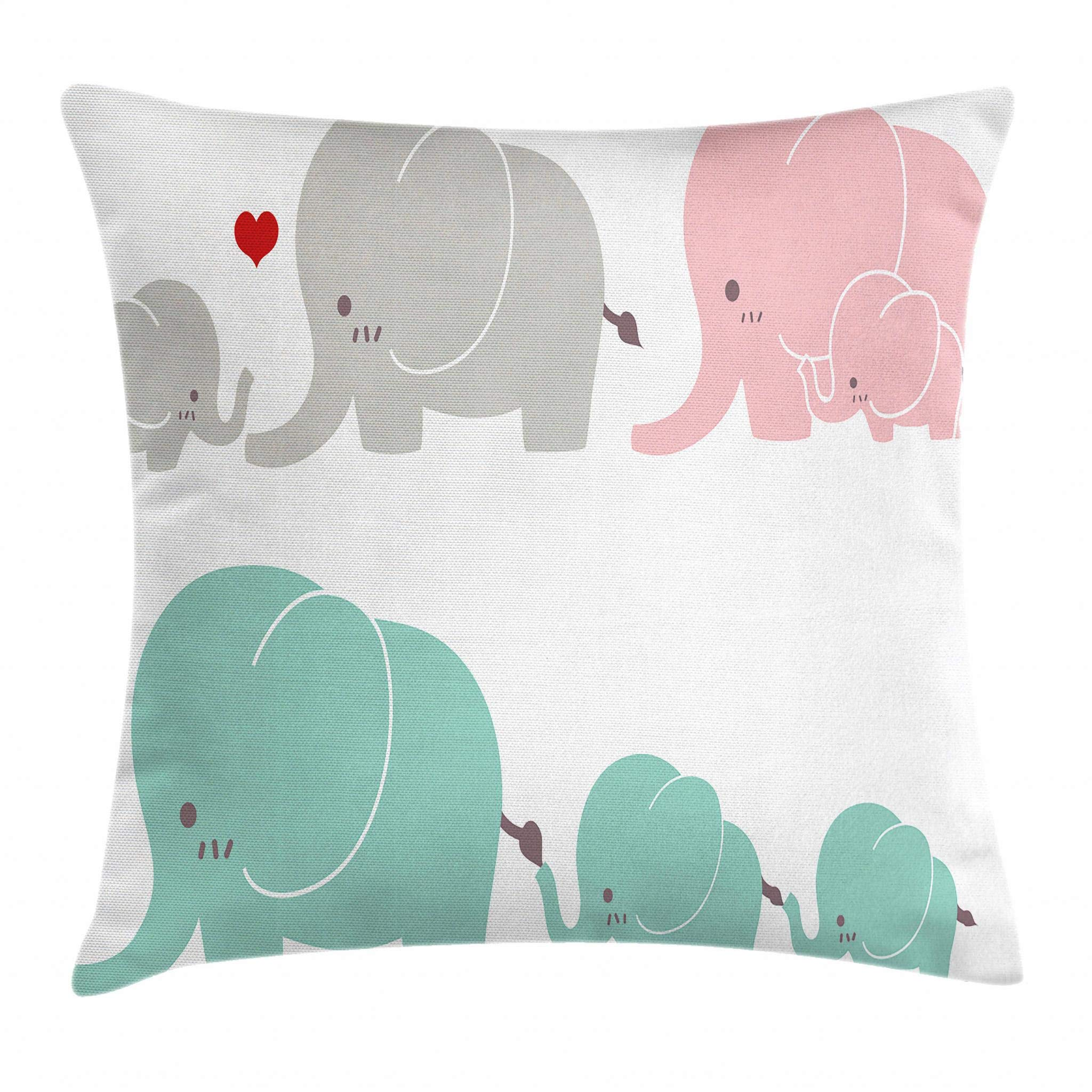Ambesonne Nursery Throw Pillow Cushion Cover, Family Love Theme Cute Sweet Elephants Mother's Day Theme Baby Children, Decorative Square Accent Pillow Case, 18 X 18 Inches, Seafoam Pale Pink Gray