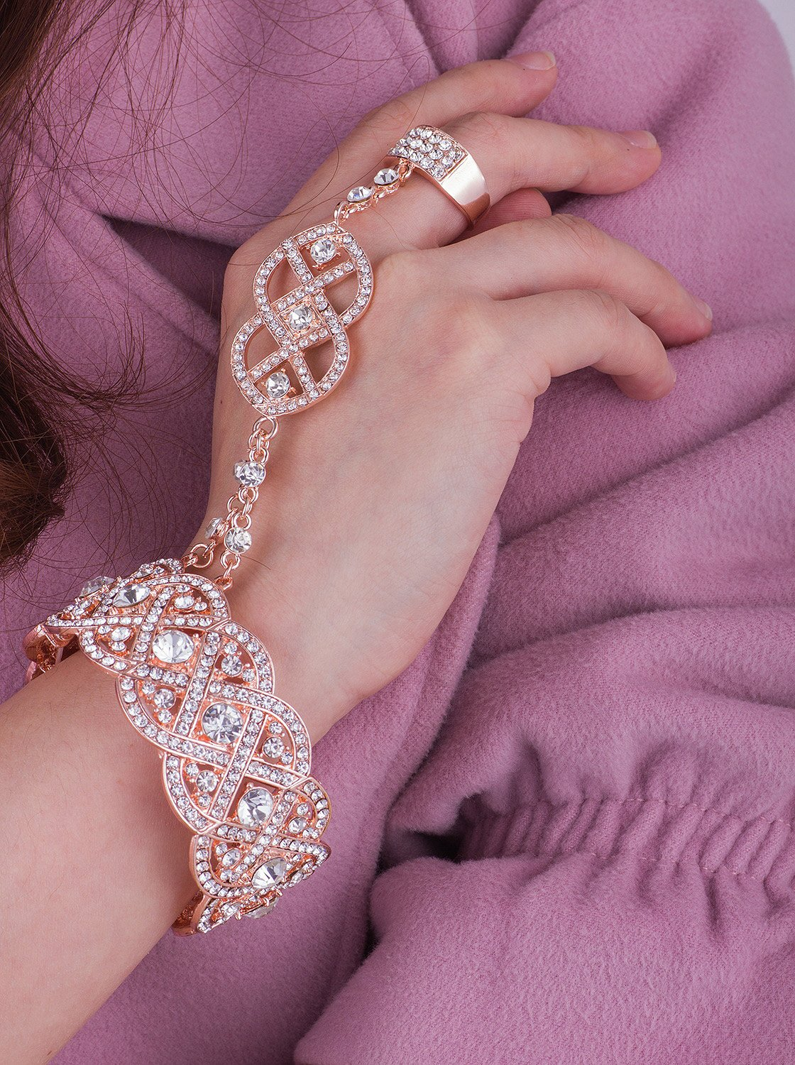 Vijiv Gold 1920s Flapper accessories Bracelet Ring Set Great Gatsby Style 20s Jewelry For Party by Vijiv (Image #3)