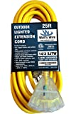 25 ft 14 Gauge Heavy Duty Indoor Outdoor SJTW Lighted Triple Outlet Extension Cord by Watts Wire - Yellow 25 foot 14 AWG Copper Lighted Multi Outlet Grounded 14/3 Extension Cord