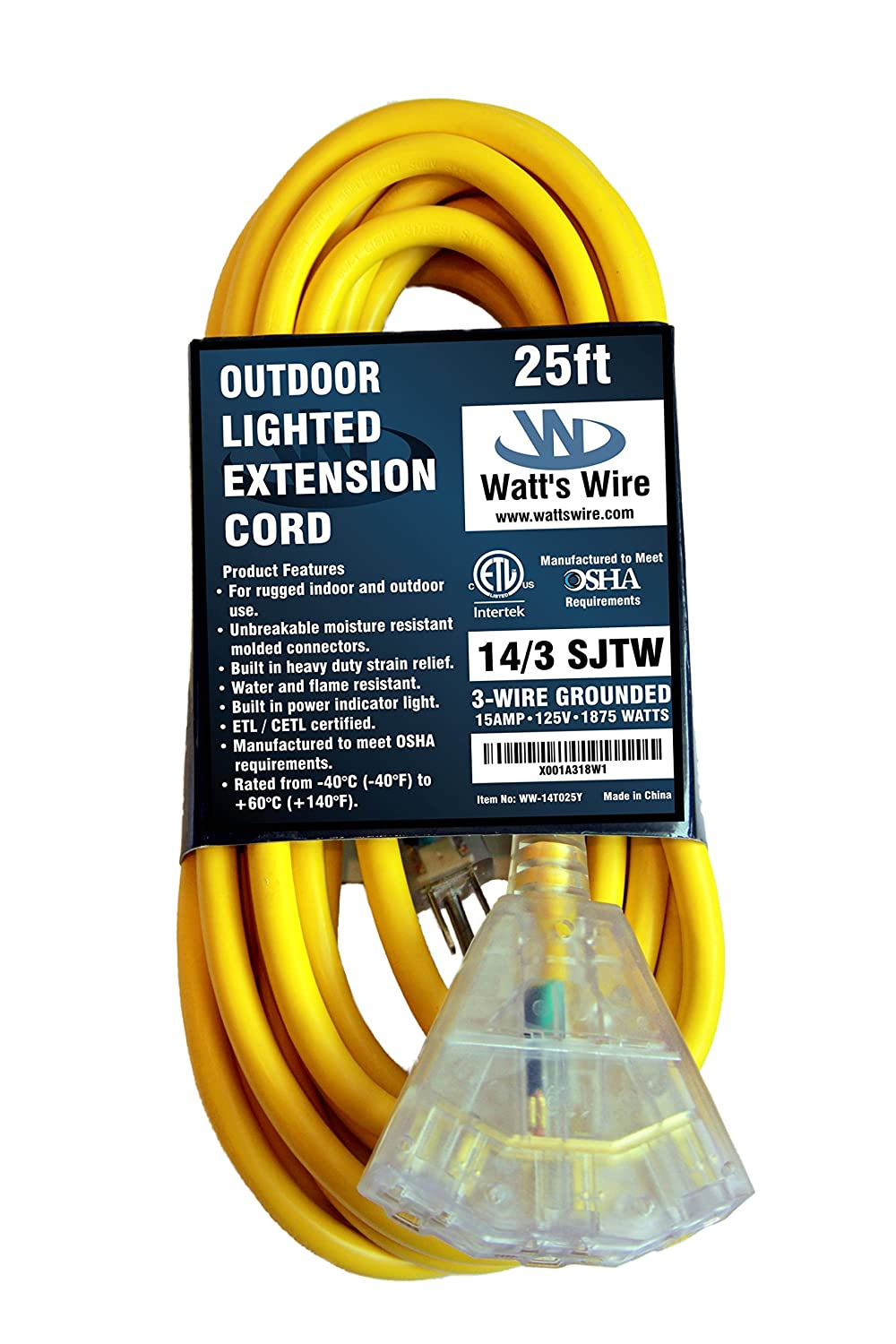 25 Ft 14 Gauge Heavy Duty Indoor Outdoor Sjtw Lighted Triple Outlet Wiring An Plug Socket Extension Cord By Watts Wire Yellow Foot Awg Copper Multi