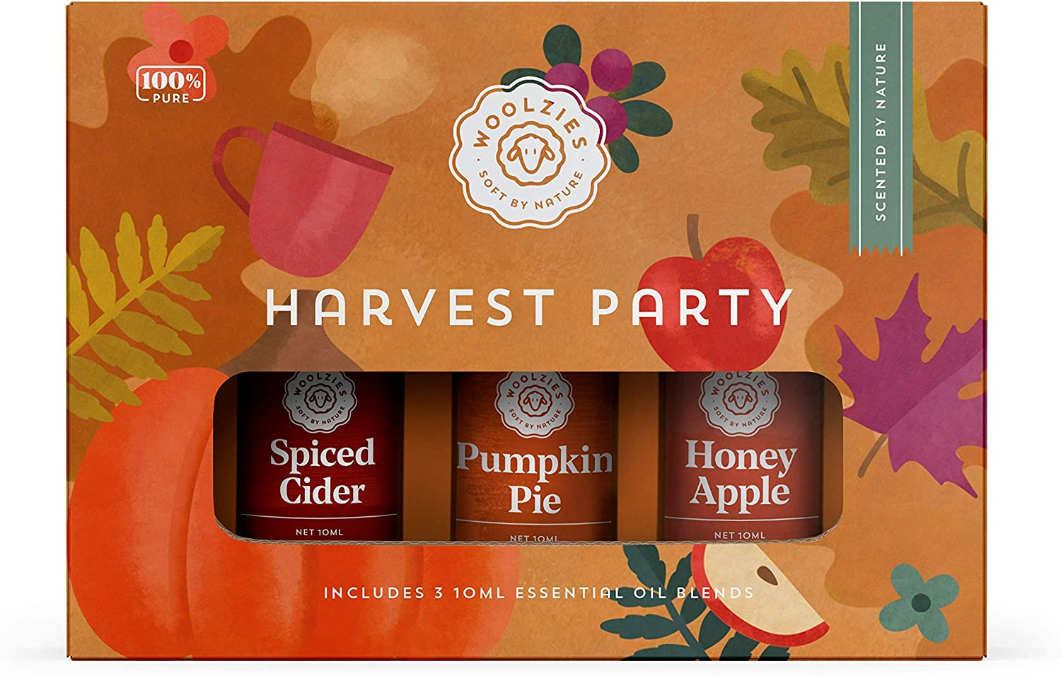 Woolzies Harvest Party Autumn Essential Oil Set of 3 Includes Spiced Cider, Pumpkin Pie, Honey Apple, Essentail Oil Blend