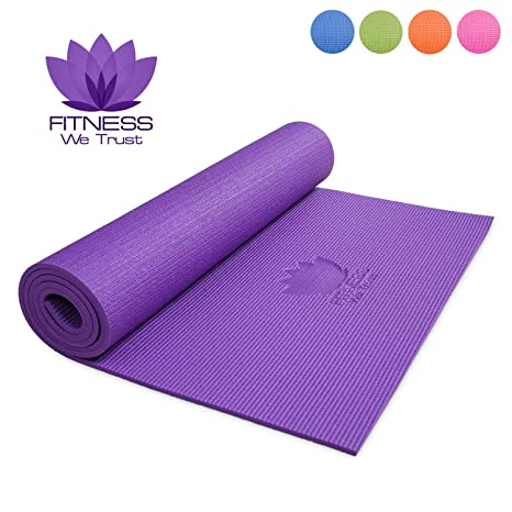 outlet sale most popular new varieties Fitness We Trust Yoga Mat - 6mm Thick - Large Non-Slip Exercise Mat With  Bag - Pilates / Gym / Home Workout / Travel / Camping - Available In Purple  / ...