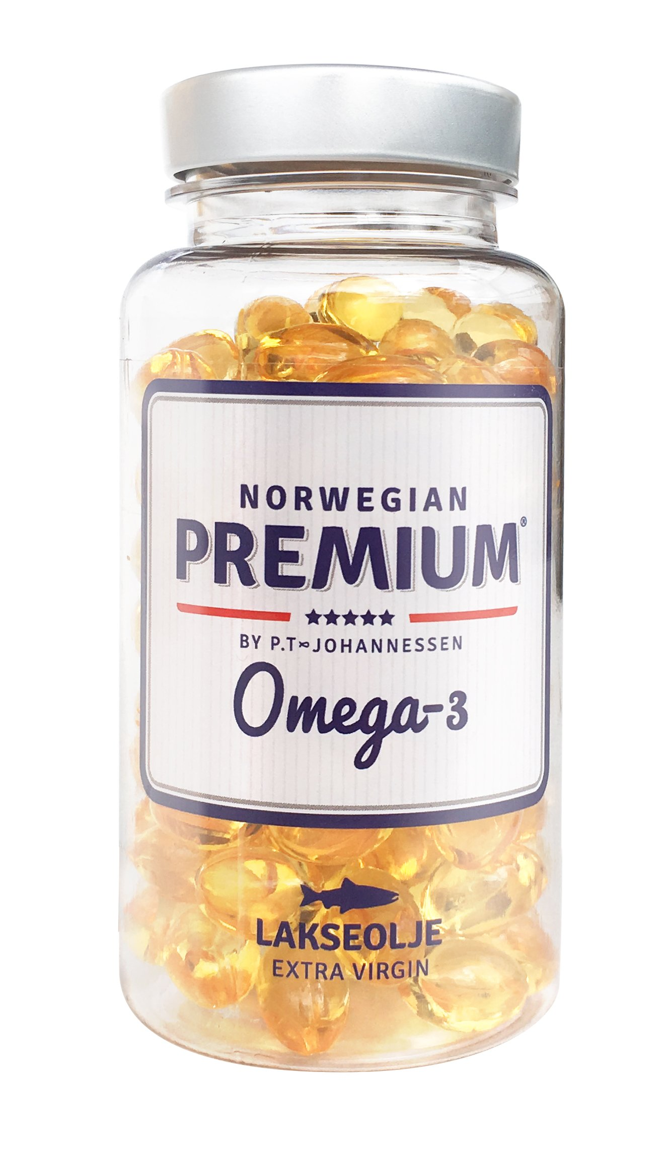 Norwegian Premium Omega-3 by P.T-Johannessen Salmon Fish Extra Virgin not from Concentrate burpless Oil. Made in Norway. (120 Capsules)