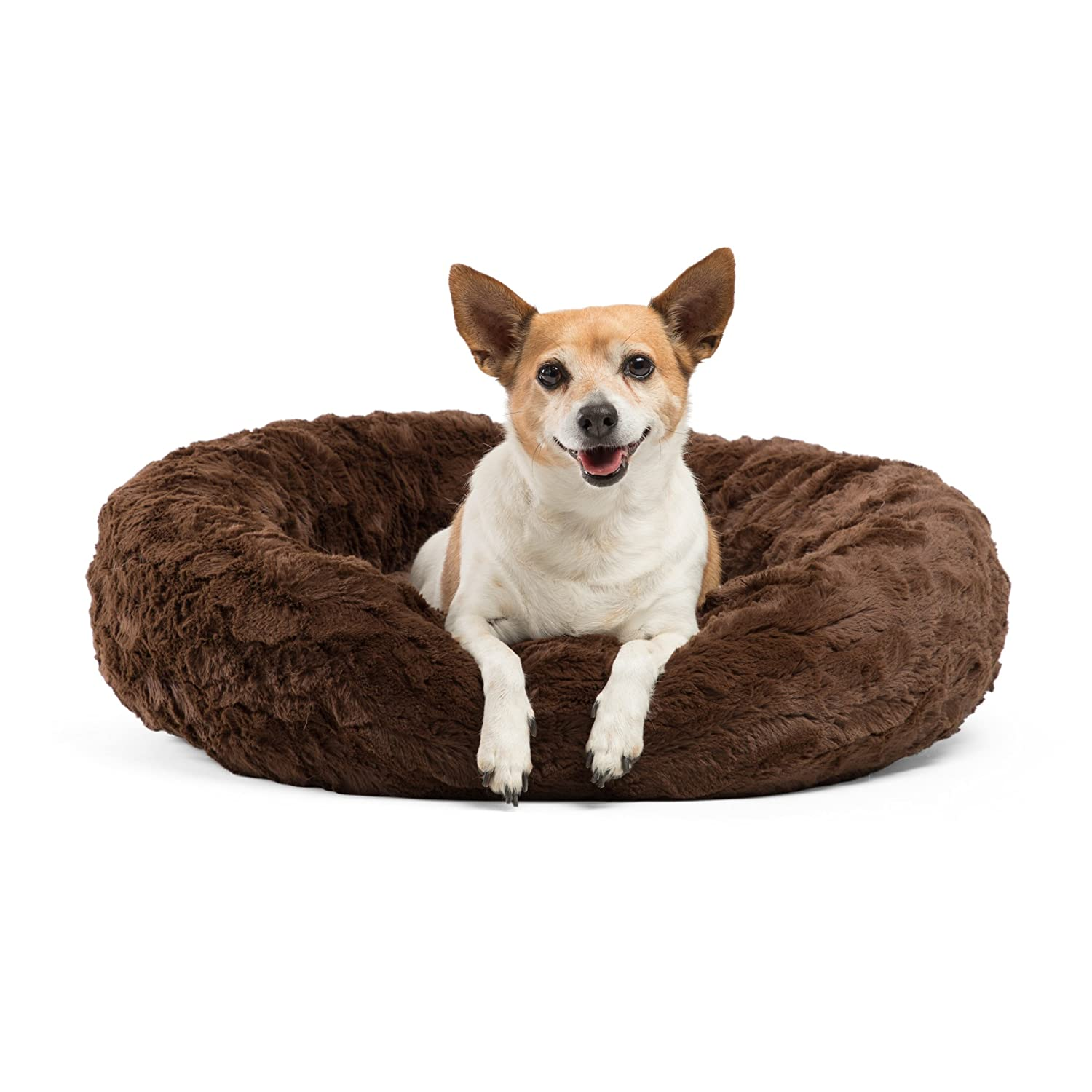 Round Lux Fur Donut Cuddler Cat and Dog Cushion Pet Bed Orthopedic Relief
