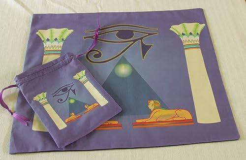 Tarot Set – Tarot Cloth or Altar Cloth Plus Matching Bag – Eye of Horus Tarot Cloth