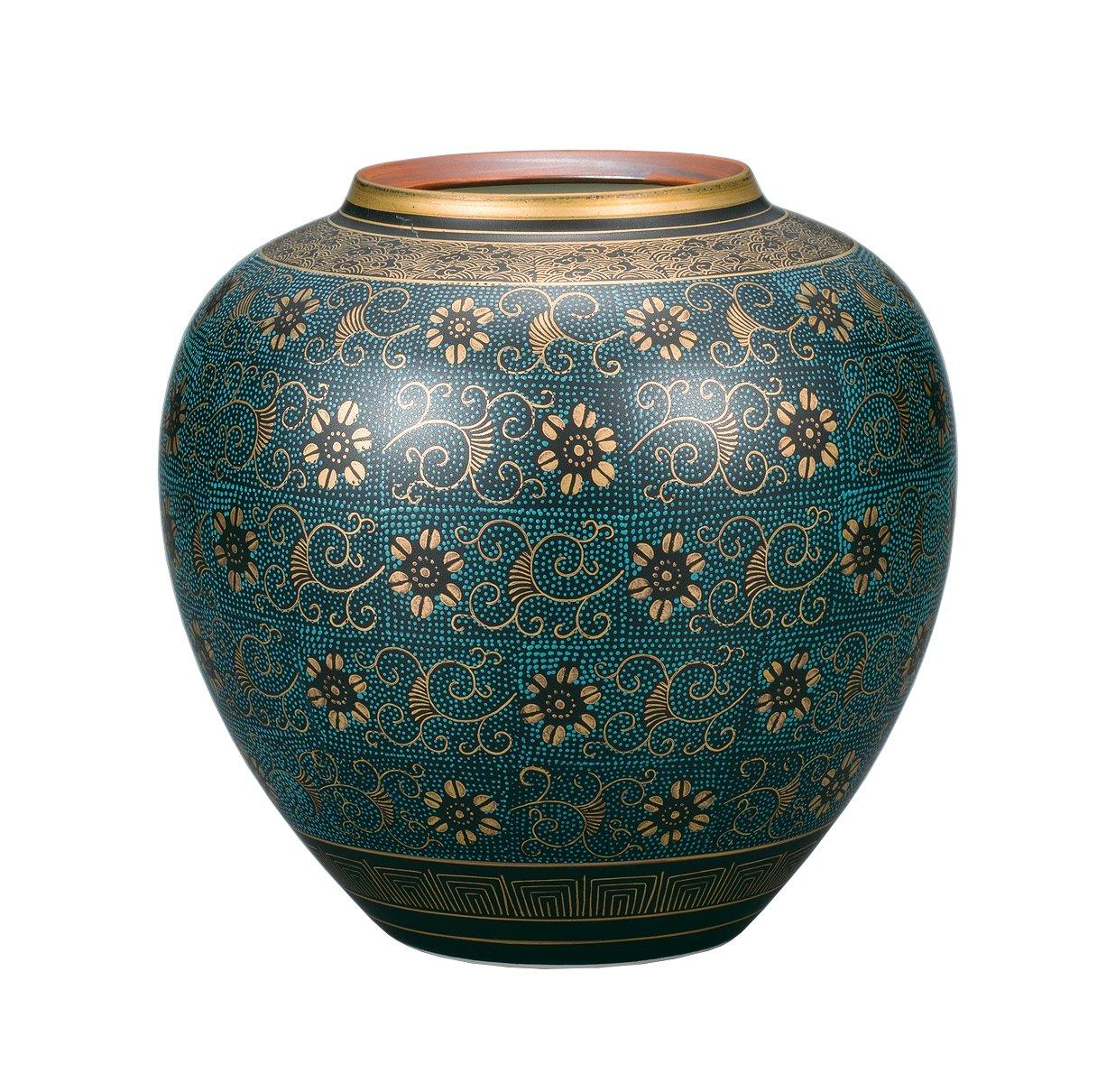 マルサン宮本 九谷焼 8号花瓶 青粒鉄仙 AP4-1051 B076GL35VB