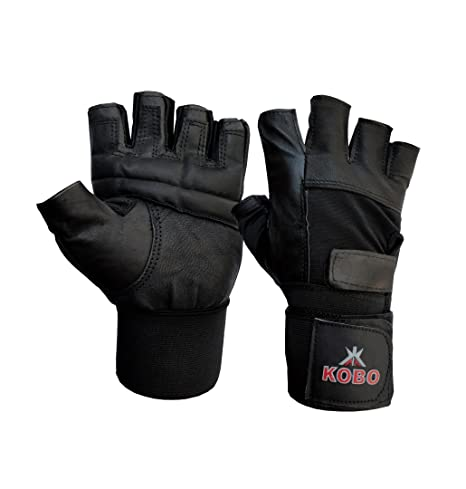 KOBO Leather Weight Lifting Gloves