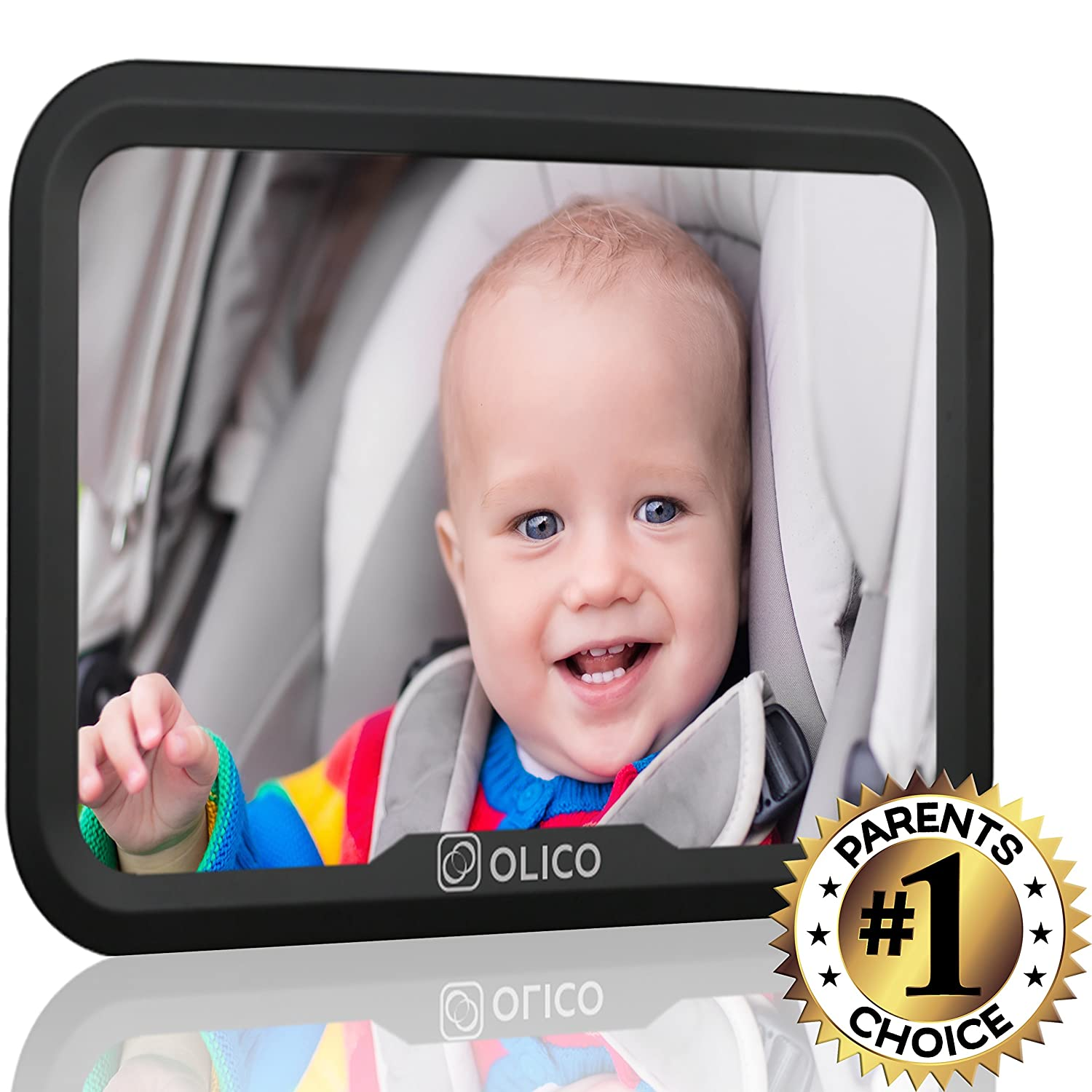 Baby Mirror by Olico Products, Baby View Mirror For Car Back Seat, Fully Adjustable, Easy Install, Used on Any Headrest, Extra Wide Angle Convex Mirror, 11.6in x 7.7in INF-1132
