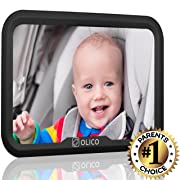 Baby Mirror by Olico Products, Baby View Mirror For Car Back Seat, Fully Adjustable, Easy Install, Used on Any Headrest, Extra Wide Angle Convex Mirror, 11.6in x 7.7in