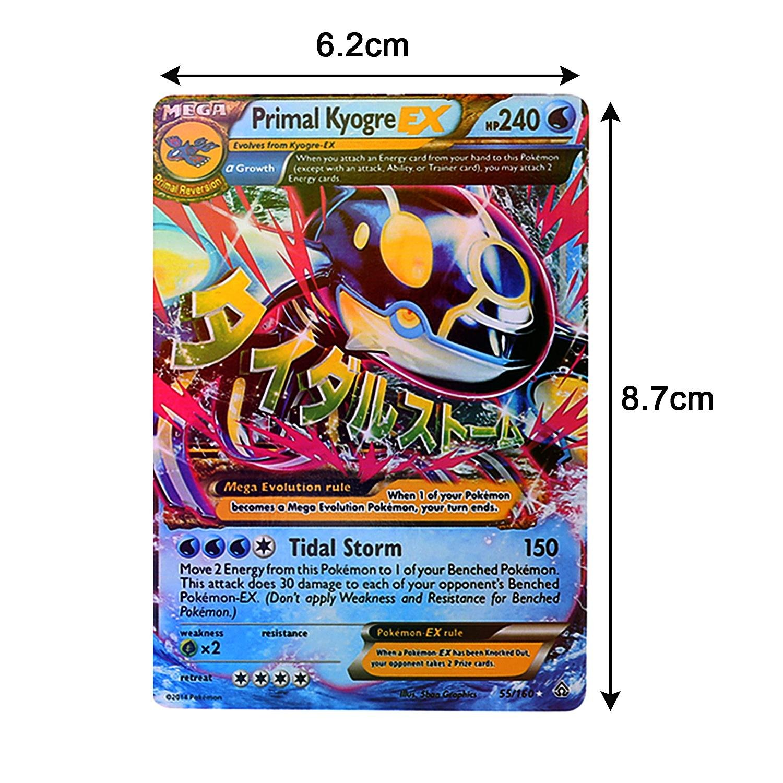 Chiak 18pcs EX Card Set MEGA Poke Cards Charizard Blastoise Venusaur Plush Interactive Toy Hammering Pounding Toys (18 Pcs)