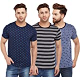 VIMAL JONNEY Multicolor Printed Cotton Tshirts for Men(Pack of 3)