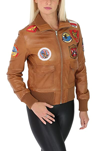 Ladies Real Leather Bomber Top Gun Style Air Force Jacket ...