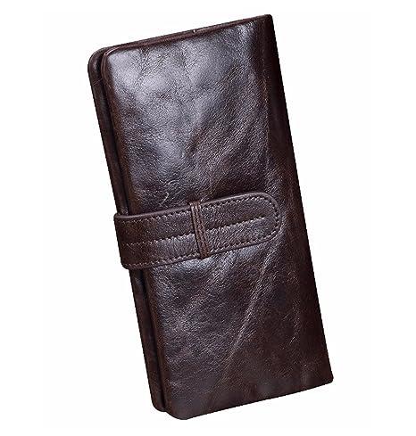Gendi vendimia cuero genuino hombres carteras 2016 famosa marca masculino monedero con bolsillos de moneda alta
