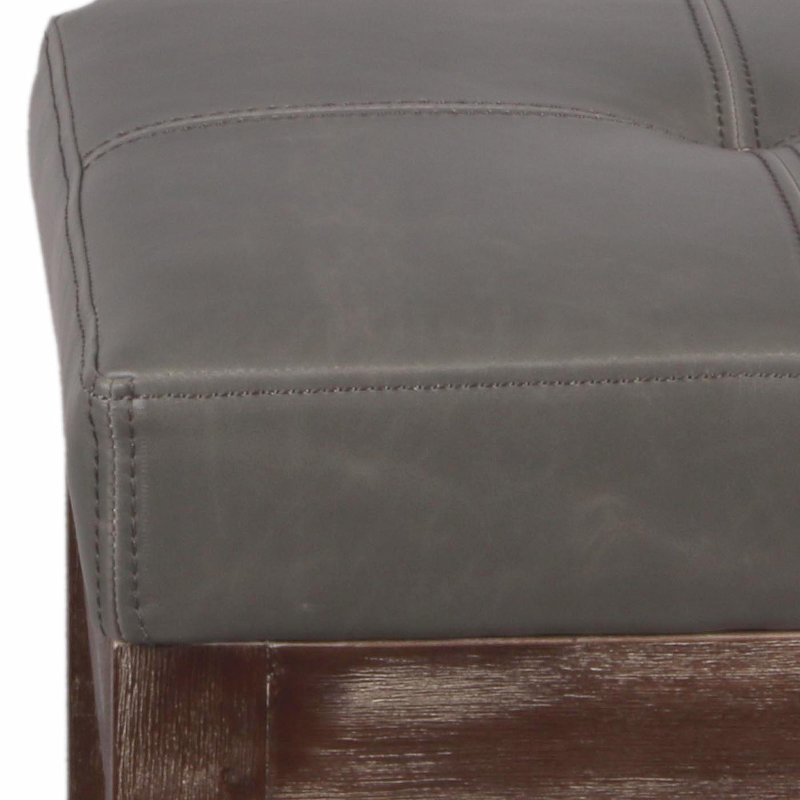 New Pacific Direct Valencia 27'' Bonded Leather Counter Stool, Drift Wood Legs, Vintage Gray by New Pacific Direct (Image #4)