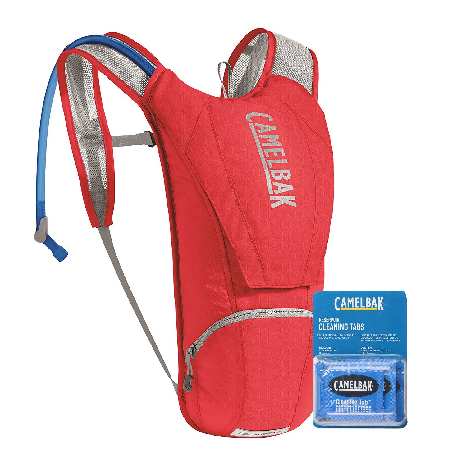 CamelBak Classic Crux Reservoir Hydration Pack Backpack 2.5 L/85 oz Bundle with Camelbak Cleaning Tablets - (8 Pack) (Racing Red/Silver) by Camel_Bak