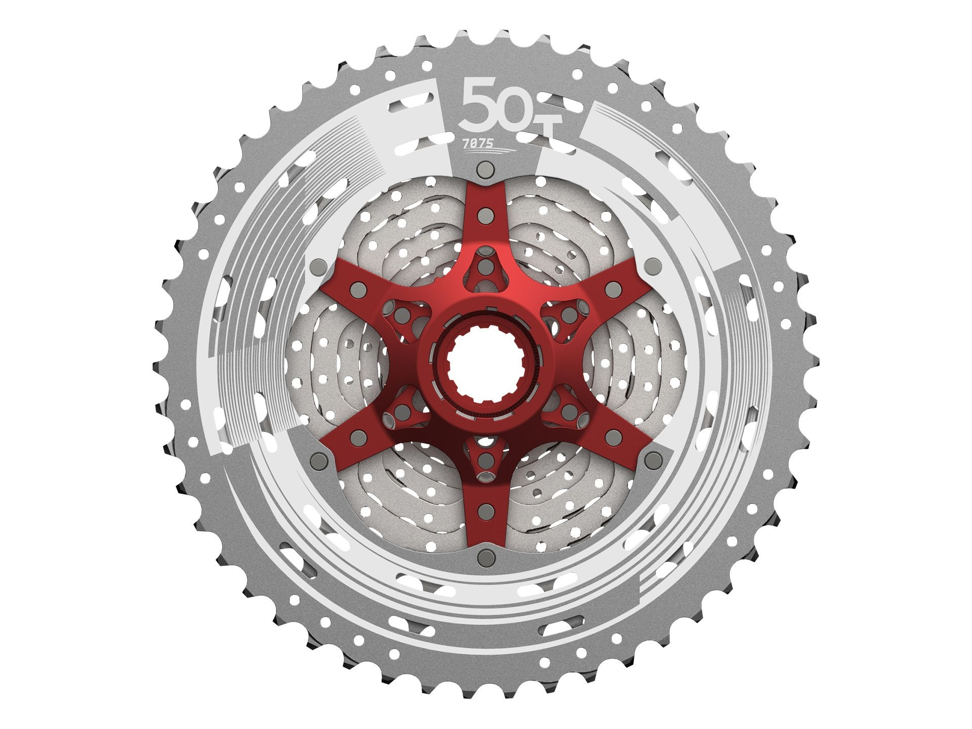 Sunrace 11-50T CSMX80 wide ratio 11-speed MTB Cassette with rear derailleur link by JGbike (Metallic Silver)
