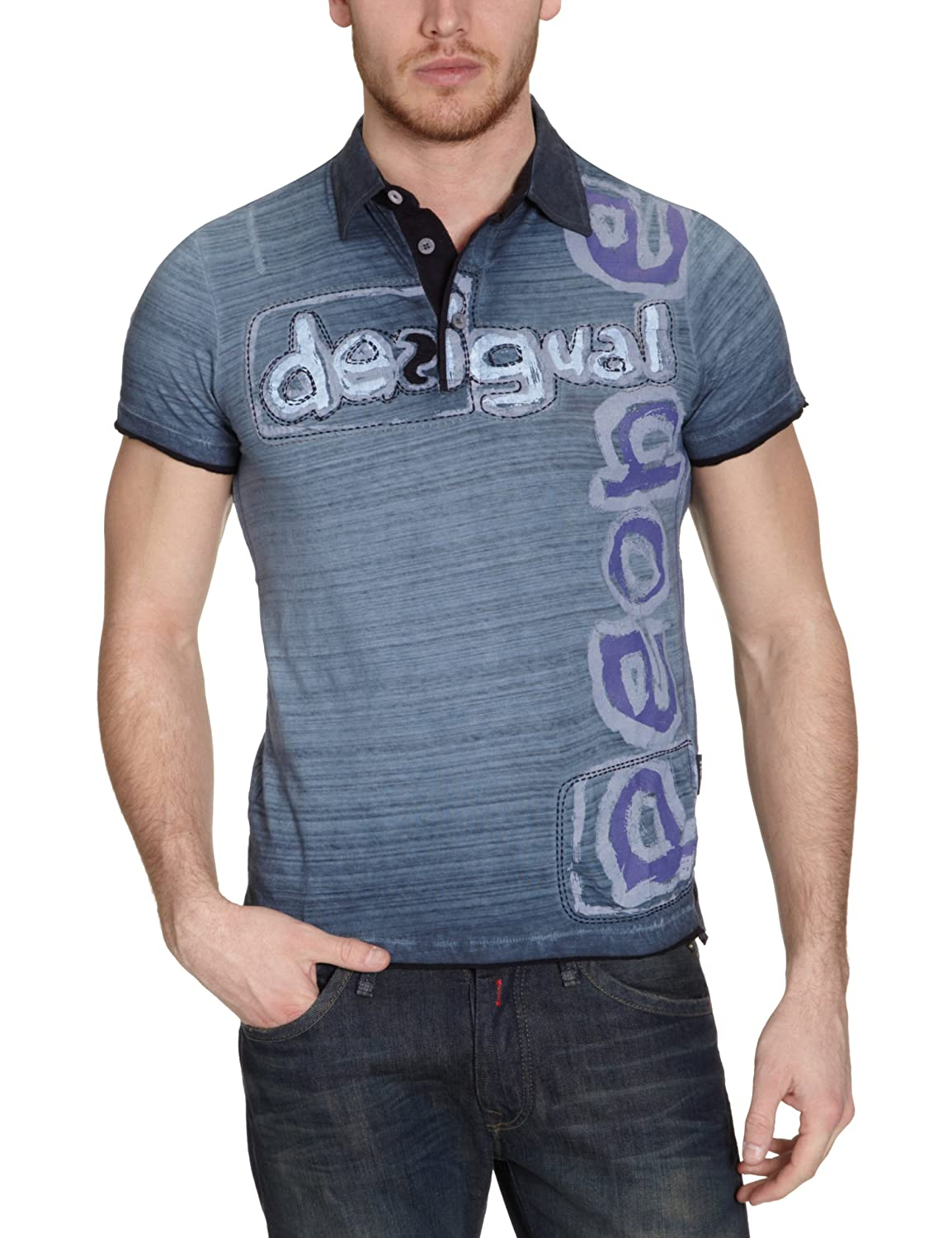 Desigual - Polo Regular fit con Cuello de Polo de Manga Corta para ...