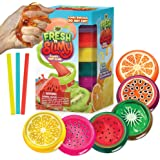 YoYa Toys Fresh 'N Slimy Fluffy Fruit Slime [6-Pack] | Kiwi, Lemon, Orange, Watermelon, Dragon Fruit & Passion Fruit Sludge Slimes with 3 Straws to Make Bubbles | Great for Kids & Adults