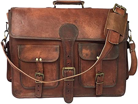ALCRAFT Leather Briefcase for Men and Women 18 inch Handmade Leather Messenger Bag for Laptop Best Computer Satchel School Distressed Bag Four Pocket