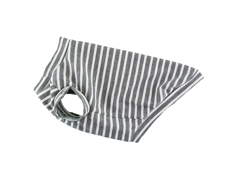 Gray & White Stripe 4x2 Rib Knit Dog Tank Top