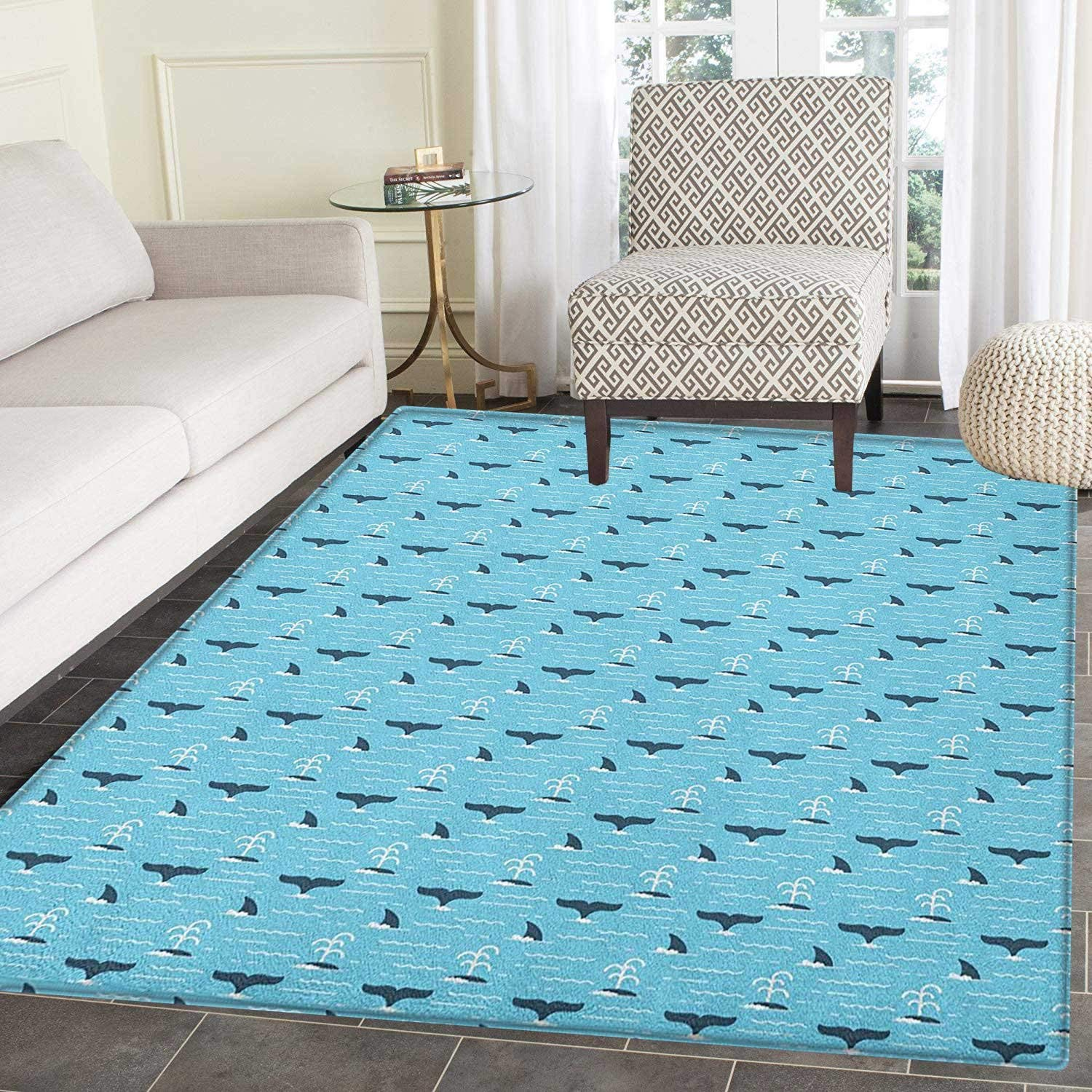 Amazon Com Whale Anti Skid Area Rug Pattern With Whale Fins Over The Water Producing Stream While Swimming Door Mat Increase 3 X4 Teal Pale Blue White Kitchen Dining