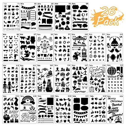 26 Packs Stencils For Journal And Diary DIY Drawing