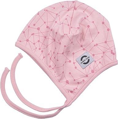 66a5e39abd27 Mikk-Line Baby Girls  Cotton Helmet-AOP Hat, Multicolour (Silver Pink