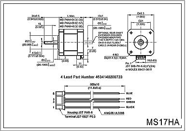 MOONS NEMA 17 Motor paso a paso 2 Fase 0,9 Grados Bipolar 1,5 A 0 ...