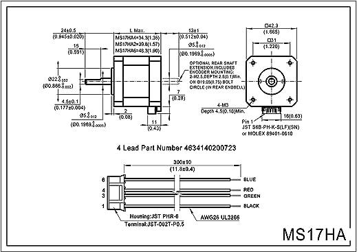 MOONS NEMA 17 Motor paso a paso 2 Fase 0,9 grados Bipolar 1 A 0 ...
