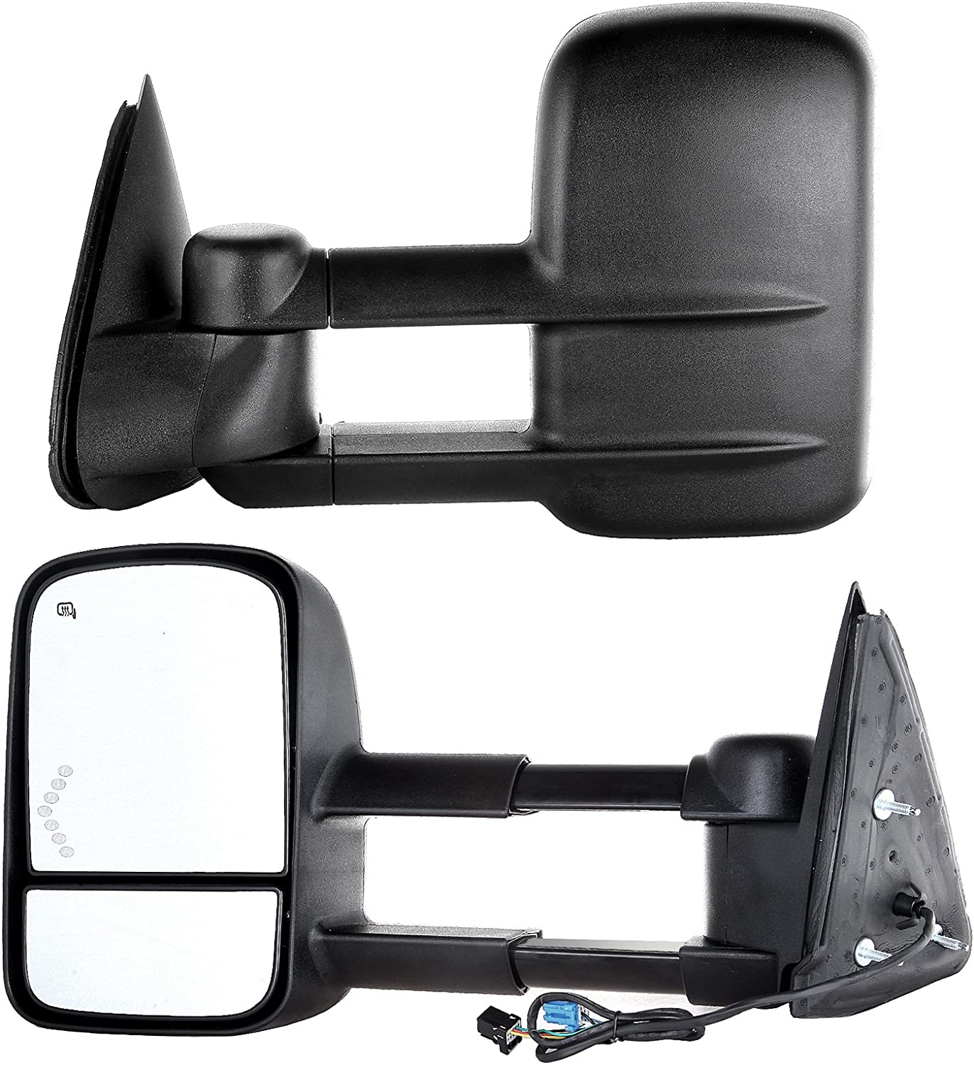 07 Classic Models OCPTY Pair of Power Adjusted Heated Towing Side LED Turn Signal Manual Telescopic Tow Mirrors Fit for 03-07 Chevy GMC Silverado Sierra