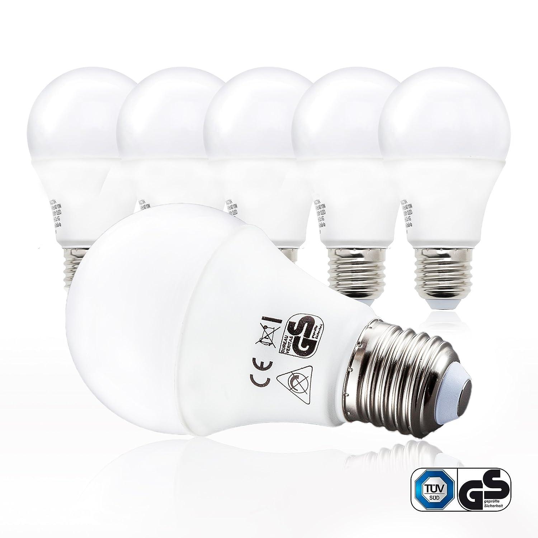 B.K.Licht LED Glü hbirne | Ersetzt 60w Halogen | 5er Set E27 | A60 Leuchtmittel | 9 Watt | 806 Lumen | 2700 Kelvin