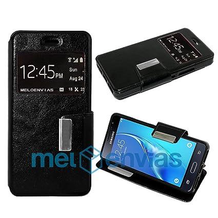 MELOENVIAS Funda Carcasa Tipo Libro con Funcion Soporte para Samsung Galaxy J3 Cuero Cierre de iman con Ventana S-View Color Negro
