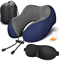 Dreamingg Travel Pillow 100% Pure Memory Foam Neck Pillow, Comfortable & Breathable Cover - Machine Washable, Airplane Travel Kit with 3D Sleep Mask, Earplugs, and Luxury Bag (Blue)