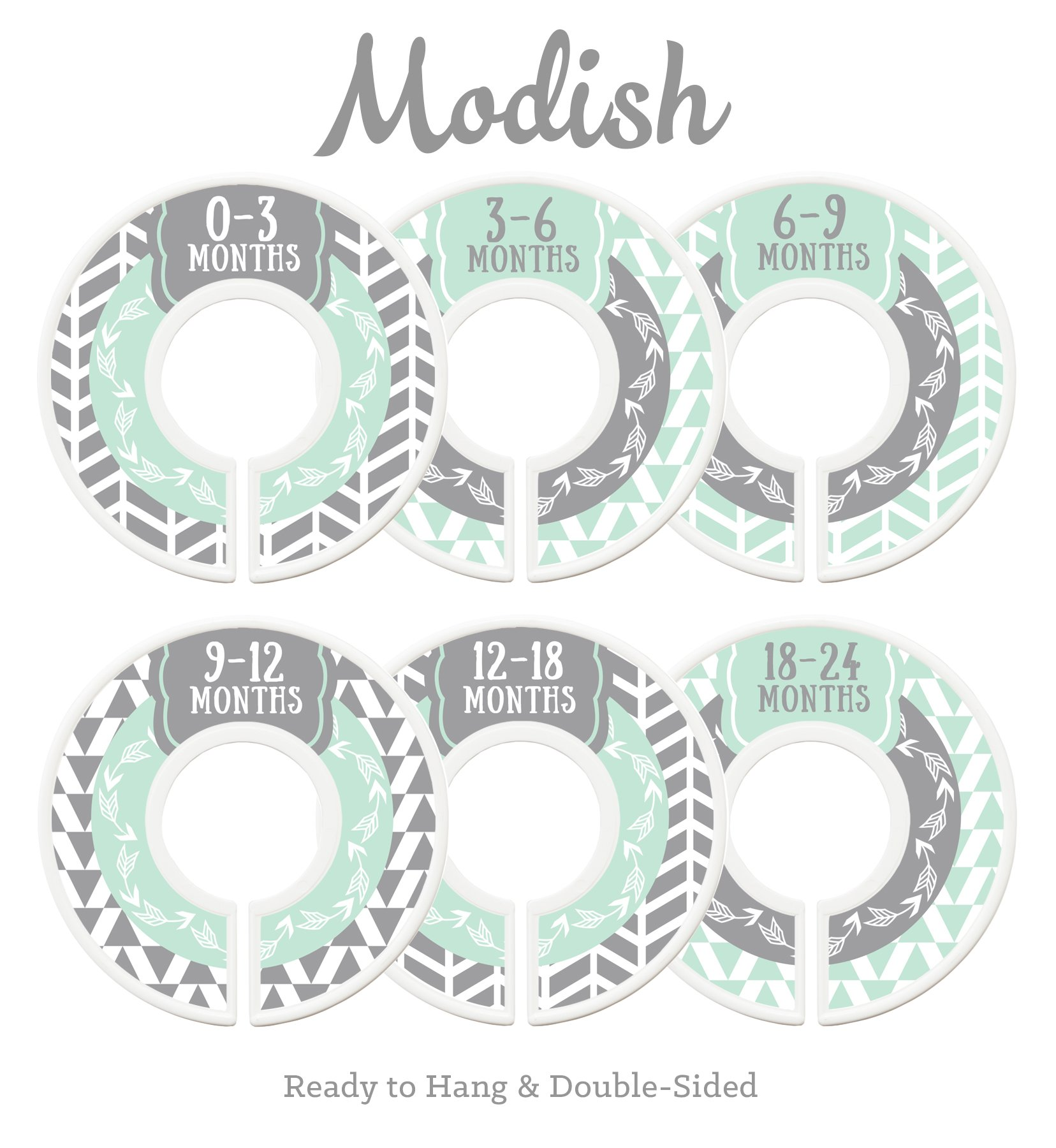 Modish Labels Baby Nursery Closet Dividers, Closet Organizers, Nursery Decor, Gender Neutral, Baby Boy, Baby Girl, Woodland, Arrow, Tribal, Mint, Grey