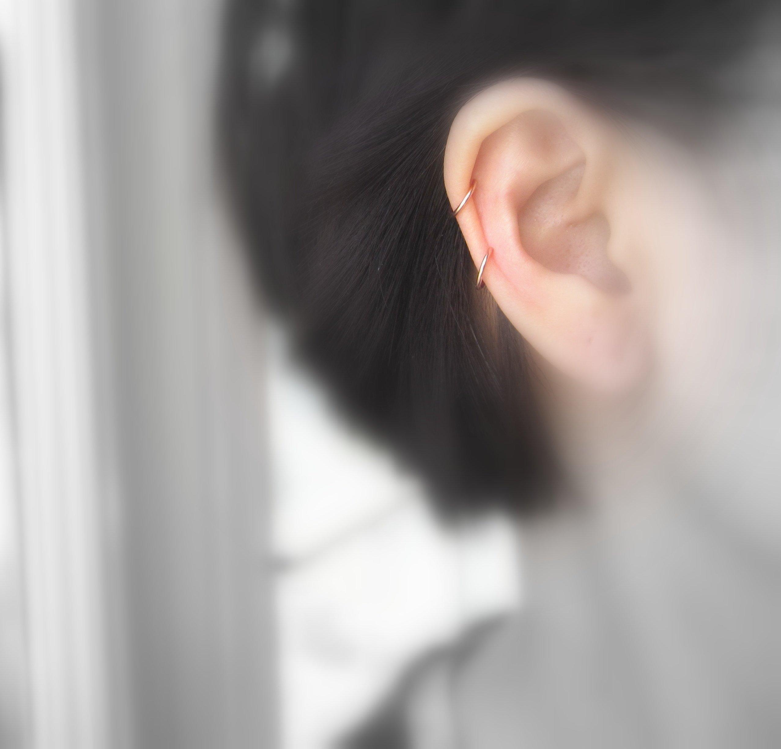 14K Rose Gold Small Hoop Earrings for 2nd Piercing Cartilage 18G 8mm Handmade One Pair