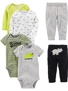 y pantalones manga corta y larga Simple Joys by Carters Conjunto de 6 piezas de body para beb/é